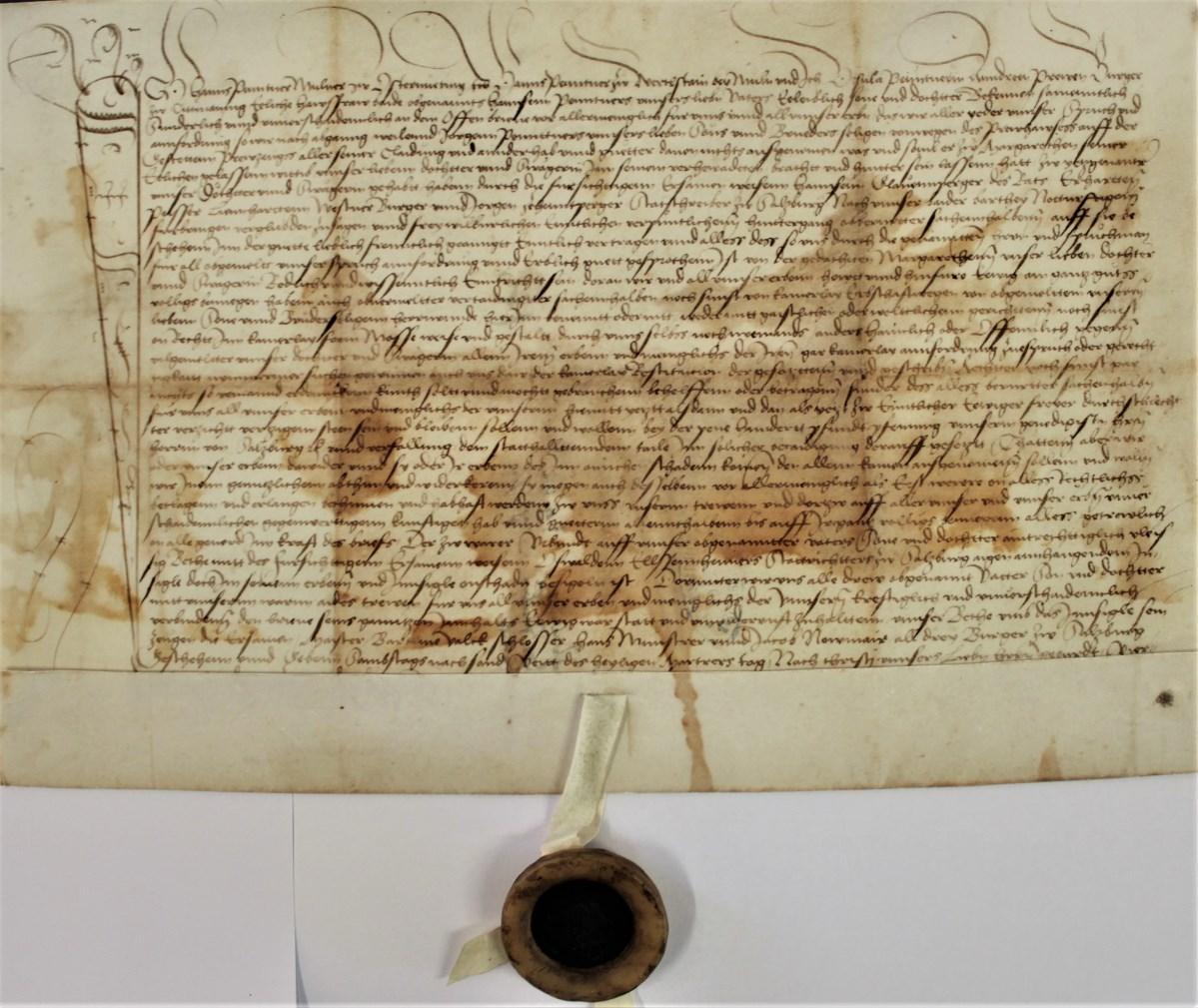 1492: Urkunde mit der ersten Erwähnung der späteren Stieglbrauerei
