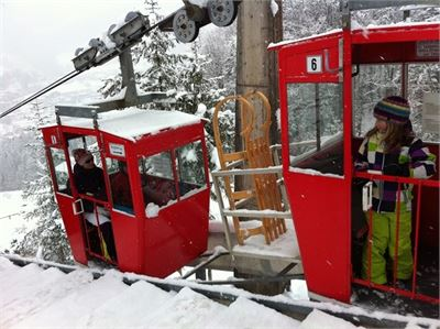 Obersalzberg mountain railway in the winter